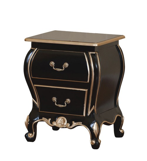 Mobilier baroque chevet for Table de chevet noire