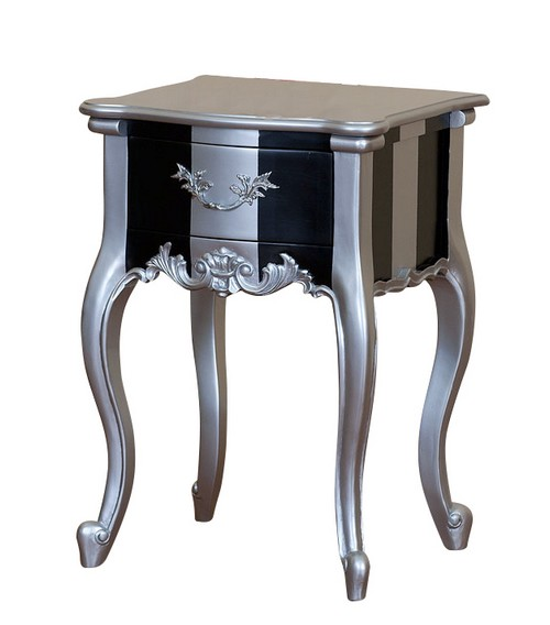Mobilier baroque chevet - Table de chevet argente ...